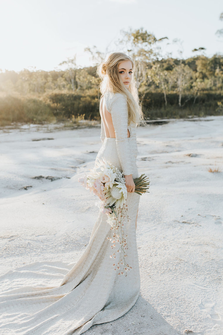 Unique bridal style _ metalic bridal gown _ Noosa bride