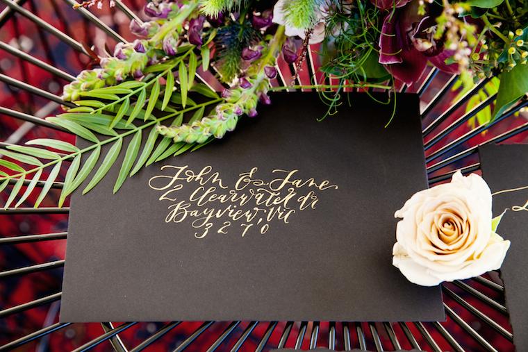 Winter wedding stationery _ calligraphy wedding invitations _ black wedding stationery _ The Bride's Tree magazine