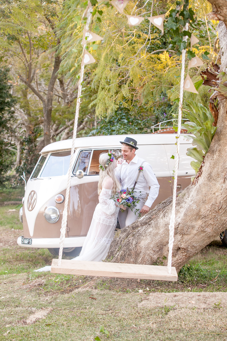Boho wedding Maleny _ Kombi wedding car hire _ The Bride's Tree