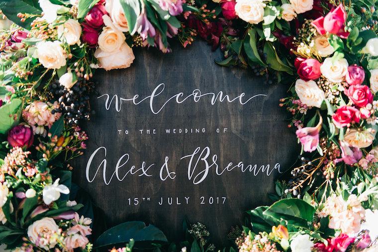 Floral wreath wedding signage _ Willow Bud _ Garden Wedding Sunshine Coast