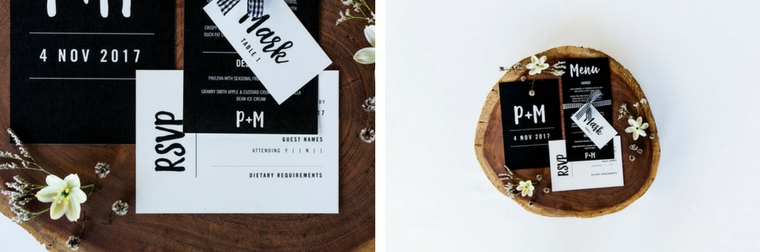 Black and white wedding stationery _ The Bride's Tree