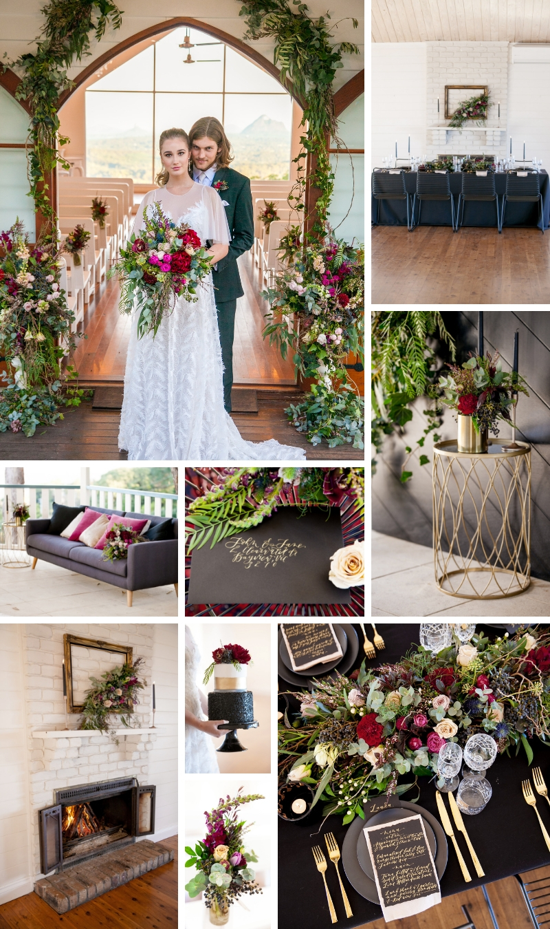Charcoal, berry and gold winter wedding colour palette _ The Bride's Tree magazine