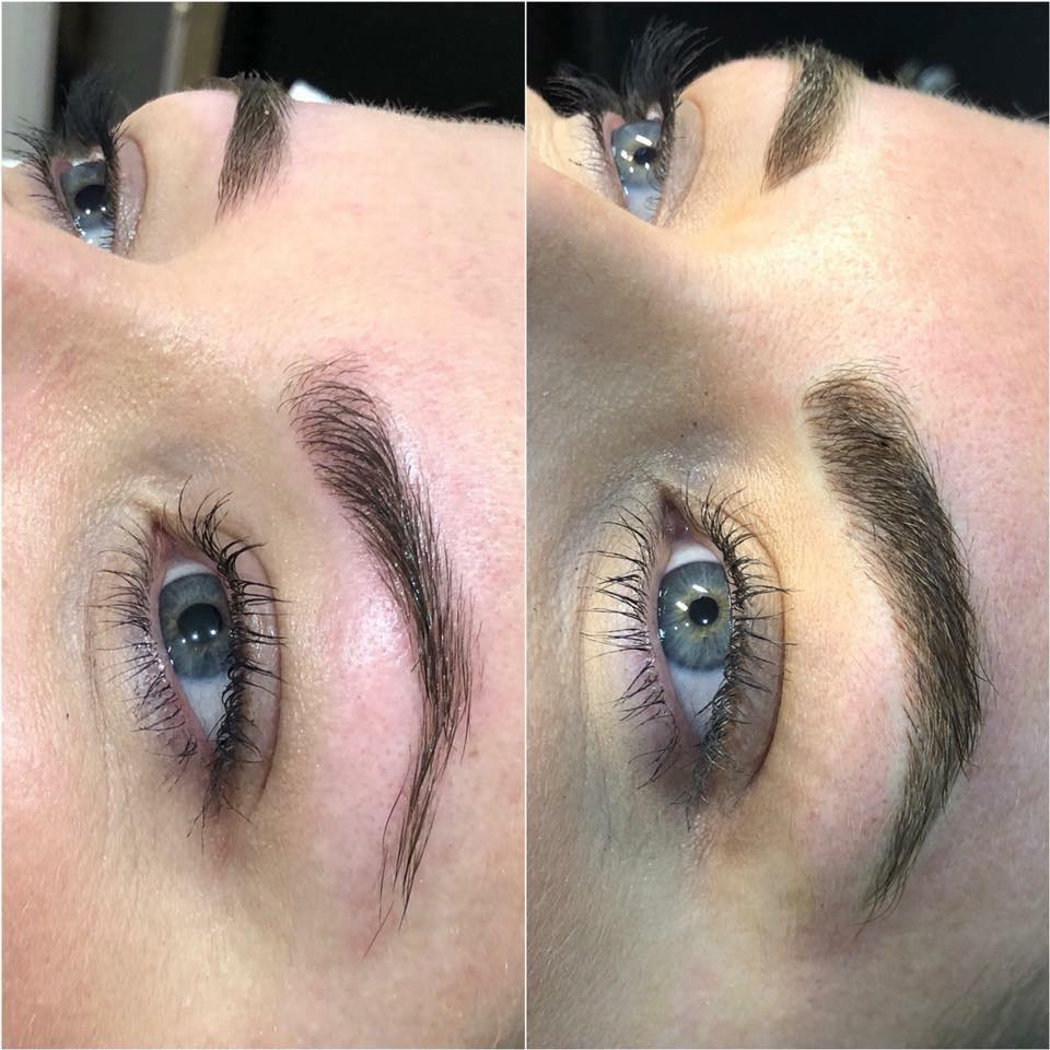 Eyebrows before and after feathertouch tattoo