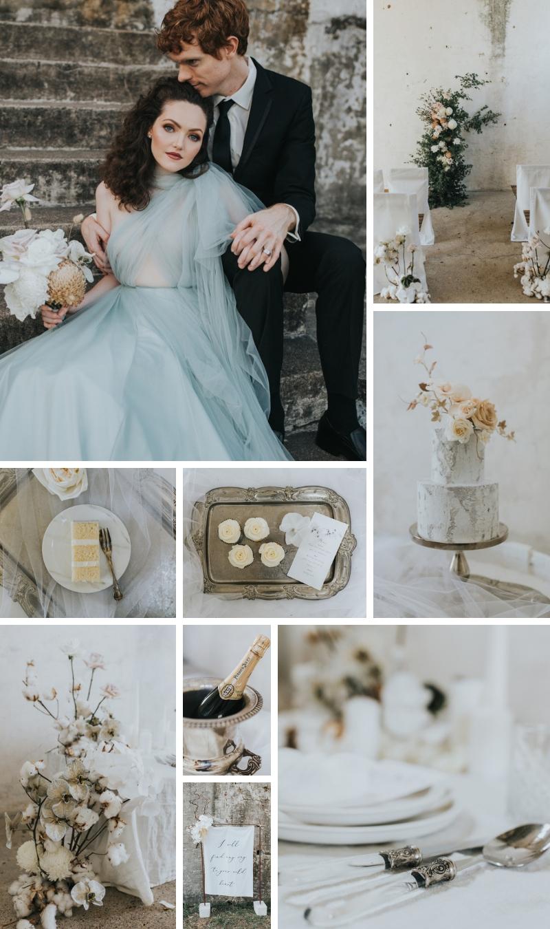 Forgotten Gardens _ Stone, peach and marine blue wedding colour palette