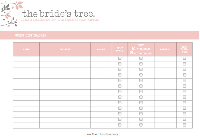 Wedding Guest List Printable Template from www.thebridestree.com.au